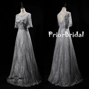 8be304a4dc3 Light Grey Lace With Beads Sequins Half Sleeve keyhole Back Lace Up Back  Prom Dresses