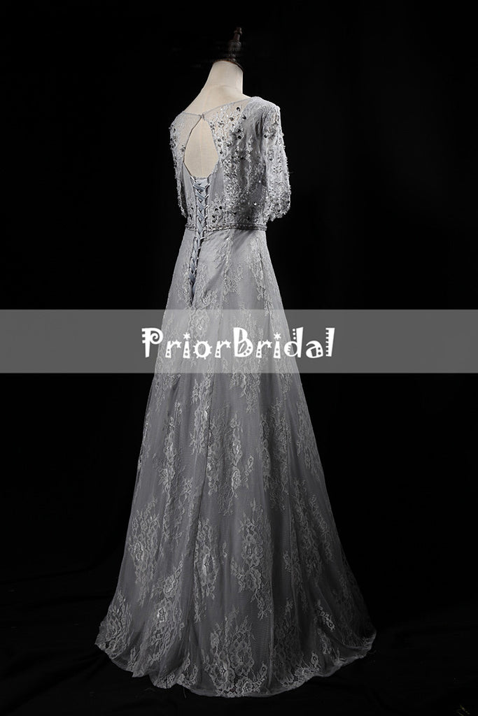 Light Grey Lace With Beads Sequins Half Sleeve keyhole Back Lace Up Back Prom Dresses,PB1056