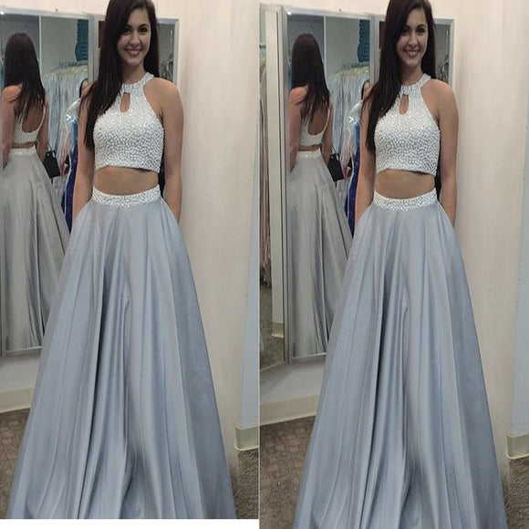 Two Pieces Rhinestones Grey Ball Gown Formal For Teens Cheap Evening Prom Dresses Online , RG0116