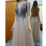 New Arrival Appliques Deep V-Neck Sexy Open Back Pretty Formal Evening Long Prom Dresses. RG0072