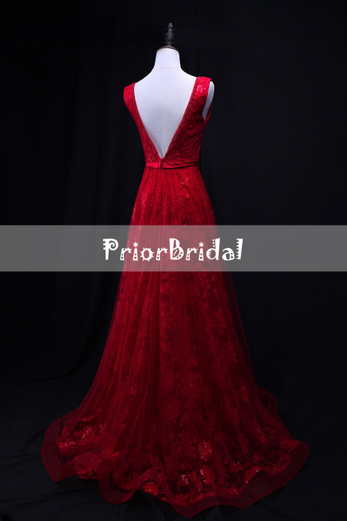 Red Lace V-neck V-back Sleeveless A-line Long Formal Prom Dresses,PB1060