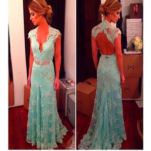 Vintage Lace High Neck Modest Floor-Length Open Back Elegant Long Prom Dresses. RG0073