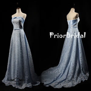 Blue Lace Strapless Lace Up Back Unique Design Fr Teens Prom Dresses,PB1061