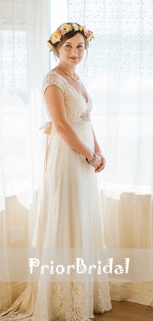 Vintage Dark Ivory Lace V-neck Cap Sleeve Wedding Dresses. RG0407