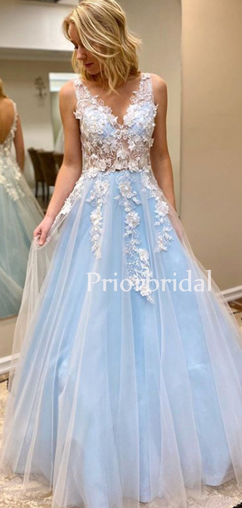 Charming V-neck A-line Tulle Lace Long Prom Dresses Evening Dresses.PB1088