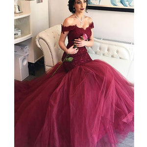 Long Burgundy Off The Shoulder Lace Mermaid Sexy Formal Evening Prom Gown Dresses. RG0080