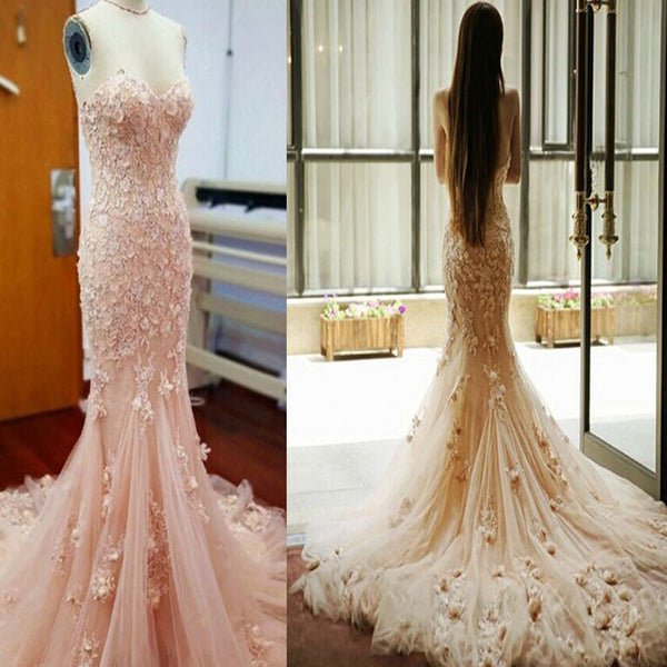 Pink Sweetheart Appliques Mermaid Charming Elegant Pretty Formal Evening Wedding Dresses. RG0081