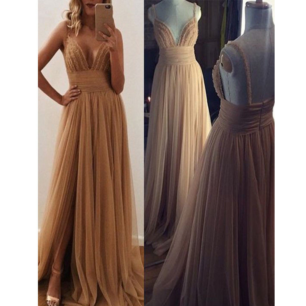 New Unique Lace Spaghetti Straps A-Line Formal Vintage Prom Dresses. RG0082