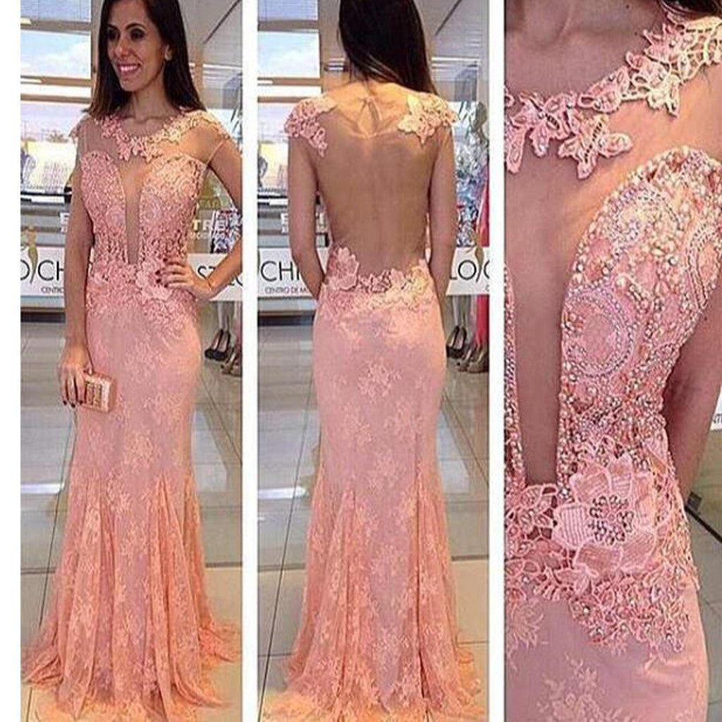 Lace Pink See Through Sexy Cheap Formal Pretty Long Prom Dresses. RG0118