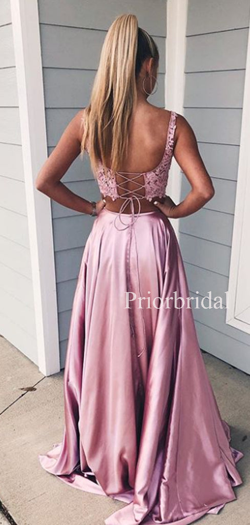 Sexy V-neck Side Slit A-line Two-piece Lace Satin Long Evening Dresses Prom Dresses.PD1132