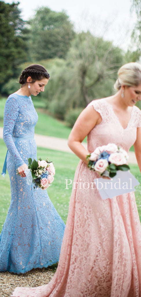Charming Mermaid V-back Lace Long Bridesmaid Dresses. PB1161