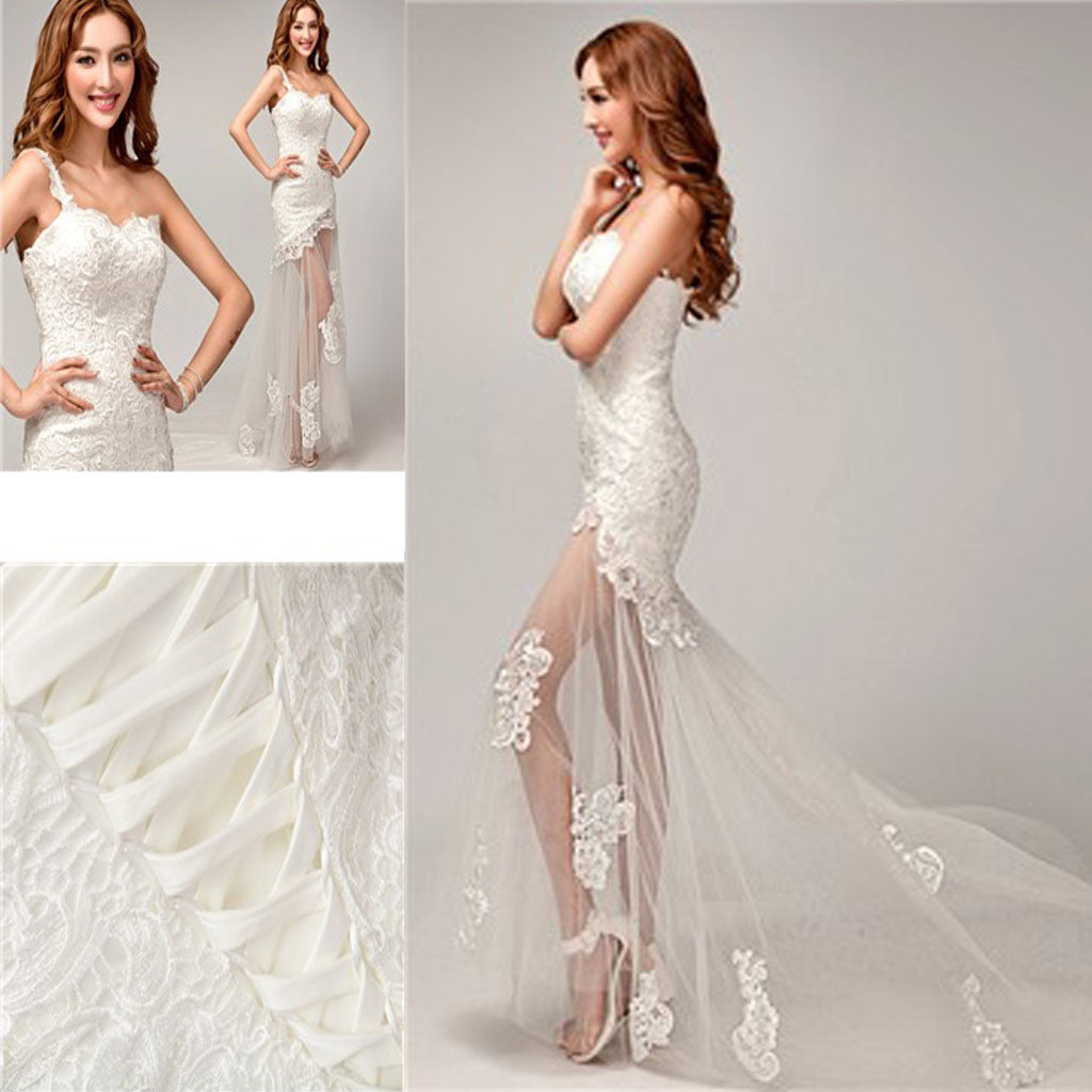One Shoulder Wedding Dress.Chic Design One Shoulder Lace Top See Through Sexy Mermaid Lace Up Wedding Dresses Wd0143