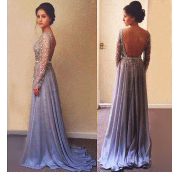 Long Sleeve Beading Sparkly Backless Sexy Charming Evening Prom Gown Dresses. RG0083