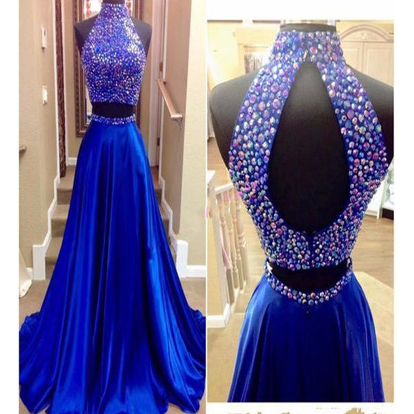 Long Royal Blue Two Pieces Beaded Vintage Prom Gown Dresses. RG0090