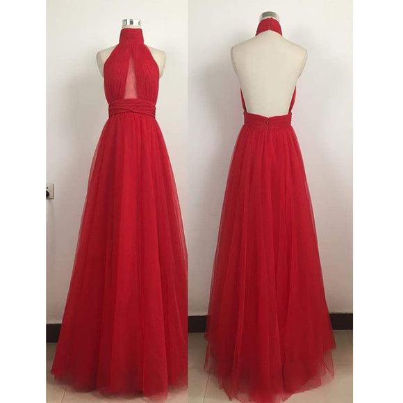 Red Hater Backless Simple Ball Gown For Teens Long Prom Party Dresses. RG0200