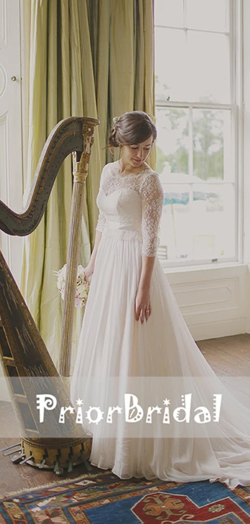 Simple Ivory Lace Top Chiffon Cheap Wedding Dresses With Sleeves. RG0404