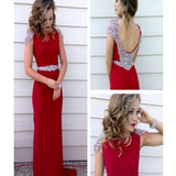 Long Red Cap Sleeve Sparkly Vintage Formal Pretty Evening Prom  Dresses. RG0094