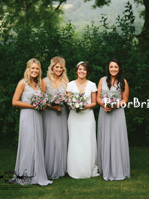 Light Grey Lace Top Pleating Chiffon V-neck V-back Sleeveless  Bridesmaid Dresses,PB1029