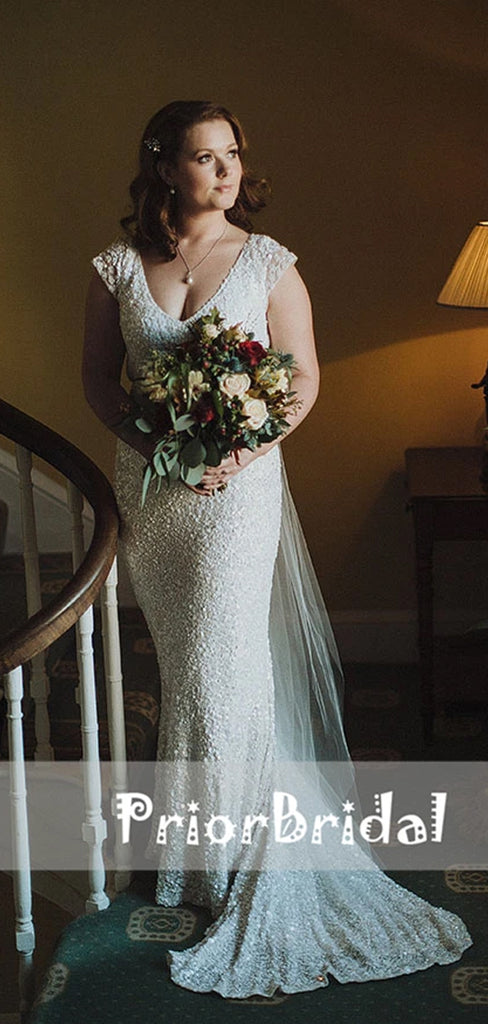 Unique Sparkly Bling White Sequin Cap Sleeve See Through Mermaid Wedding Dresses. RG0403