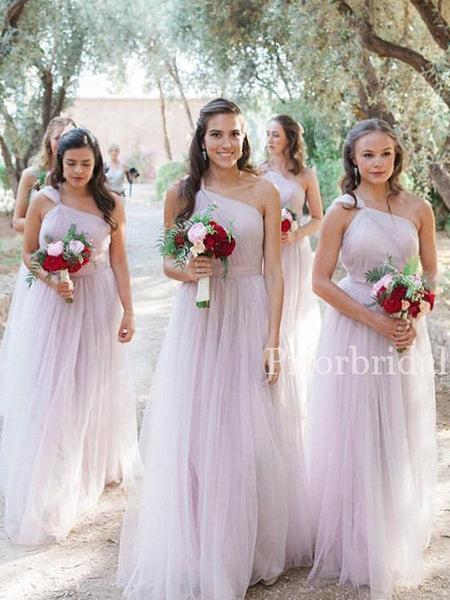 Charming One-shoulder Tulle Floor Length Long Bridesmaid Dresses. PB1163