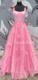 Charming Spaghetti Strap A-line Satin Tulle Open Back Long Prom Dresses.PB1079