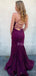 Sexy V-neck Lace Up Back Mermaid Lace Long Prom Dresses Evening Dresses.PD1145