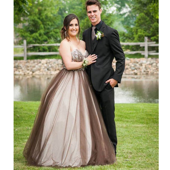 2017 Chocolate Sweetheart Ball Gown Formal Princess Party Prom Dresses. RG0103