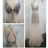 Long Sliver Mermaid Beaded Sparkly Open Back Formal Sexy Long Prom Dresses.  RG0104