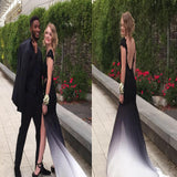 2017 Simple Mismatched Backless Cap Sleeve Elegant Chiffon For Teens Long Prom Dresses.RG0107