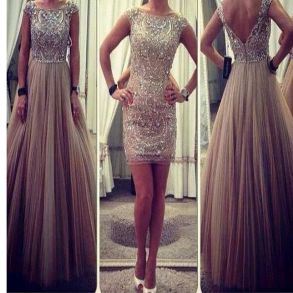 New Glitter Cap Sleeve Charming Ball Gown Vintage Evening Party Prom Dress Online,RG0108