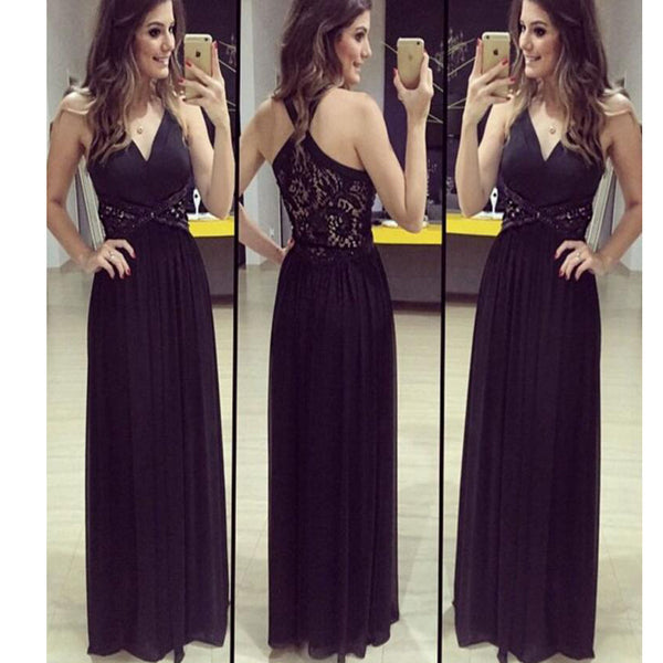 Long Black V-Neck Floor Length Simple Pretty Evening Gown Prom Dresses,RG0109