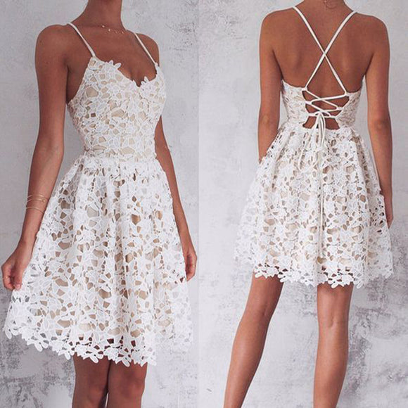 Short A-Line Spaghetti Straps Lace-Up White Lace Homecoming  Dresses, BD00190