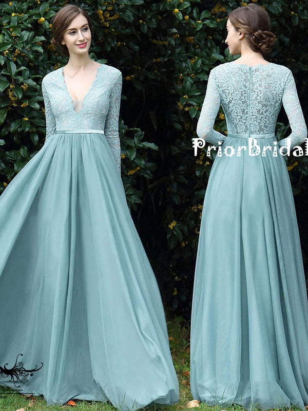 Long Sleeve Tiffany Blue Lace Top Chiffon V-neck A-line  Bridesmaid Dresses,PB1019