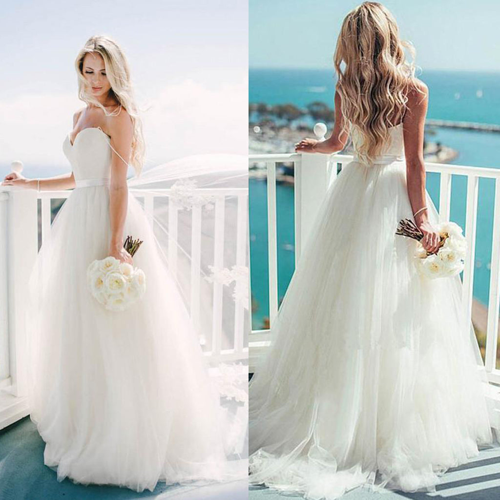 Real Simple Weddings 2017: 2017 New Spaghetti Straps Simple Ball Gown Wedding Dresses
