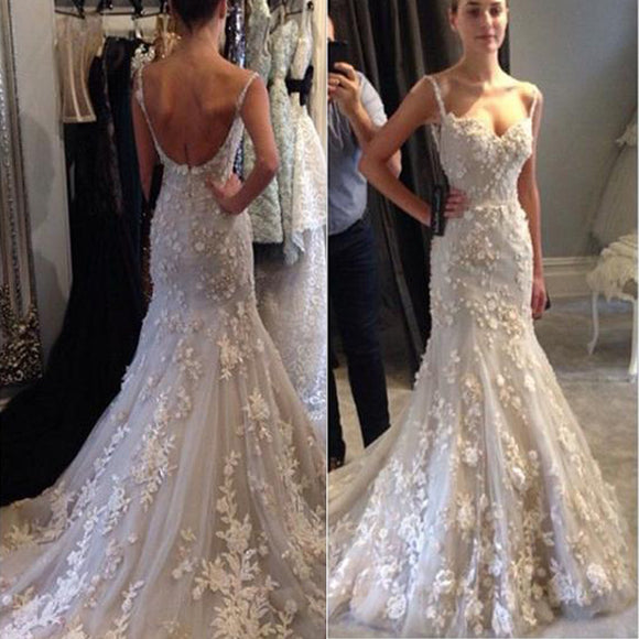 Appliques Spaghetti Straps Backless Mermaid Sexy Unique Style Wedding Dress Bridal Gown, WD0101