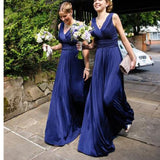 Long Blue V-Neck Simple Chiffon Plush Size Modest Country Wedding Party Bridesmaid Dresses. WG0220