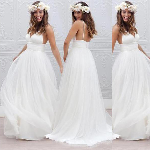 New Hot Sale Simple White Spaghetti Straps V-Neck Elegant Wedding Party Dresses.RG0002