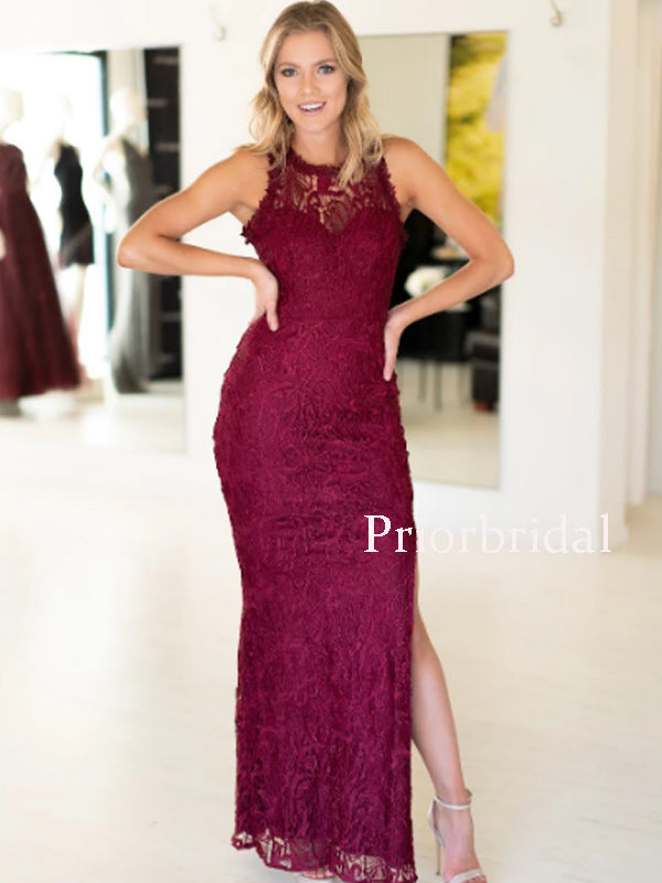Charming Sleeveless Side Slit Lace Long Prom Dresses Evening Dresses.PD1122