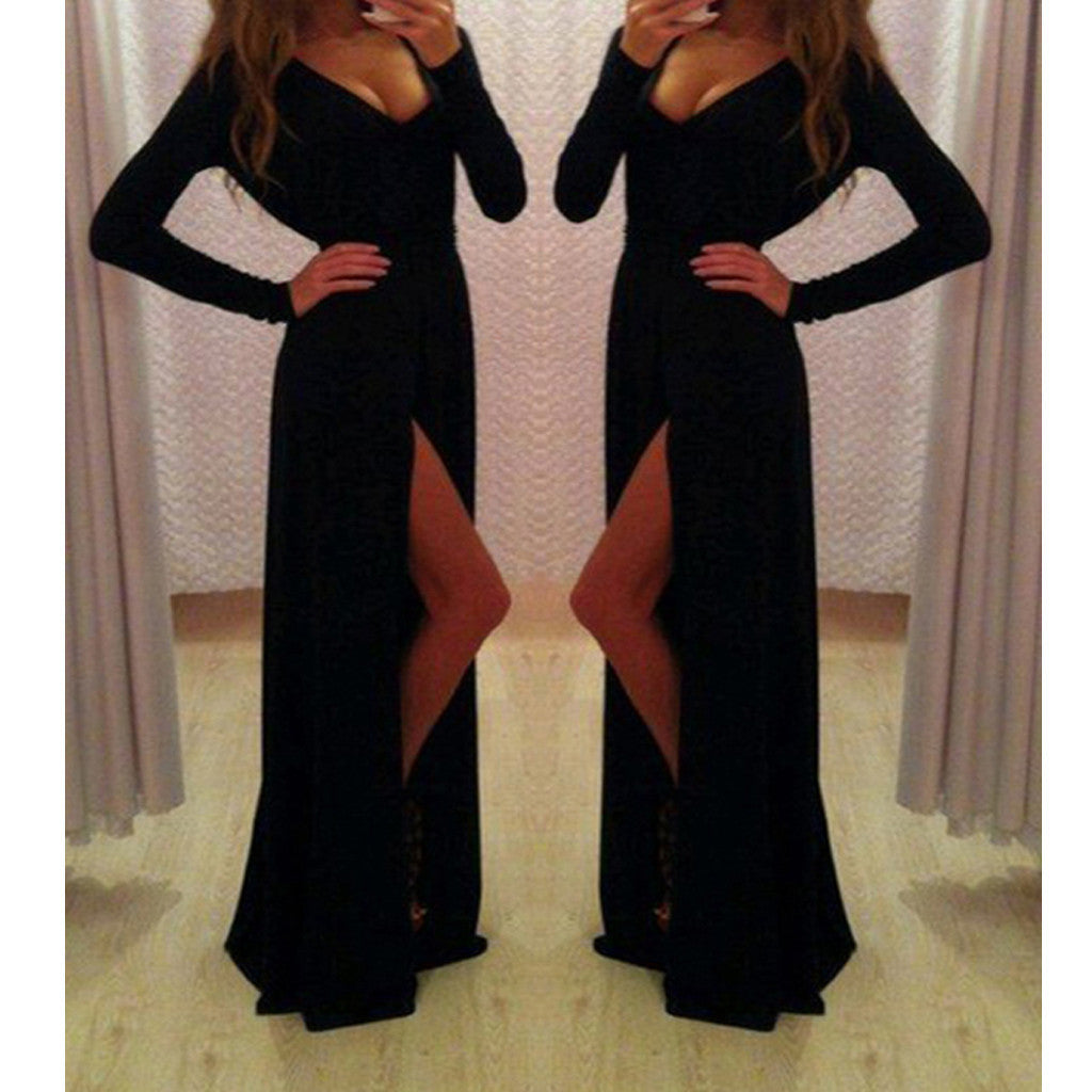 New Long Sleeve Black A-line With Slit Sexy Elegant Modest Evening Party Dress. PD0214