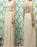 Beautiful High Waist White Lace Long A-line Wedding Party Dresses, Chiffon Bridal Gown, WD0097