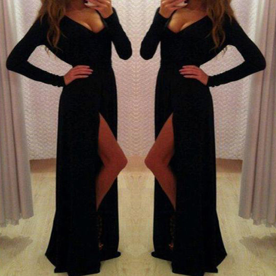 2017 New Long Sleeve Black A-line With Slit Sexy Elegant Modest Evening Party Dress. PD0214