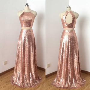 Two Pieces Popular Rose Gold Sequins Open Back Spaghetti Strap Long A-line Prom Dresses,PB1011