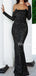 Charming Straight Long Sleeve Mermaid Sequin Long Evening Dresses Prom Dresses.PD1123