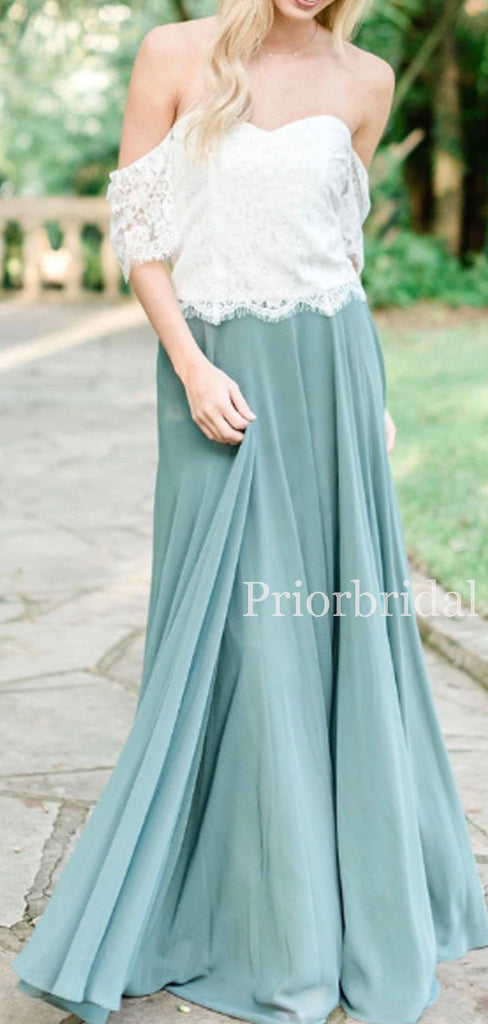 Charming Off-shoulder Chiffon Lace Long Bridesmaid Dresses. PB1154