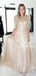 Charming 1/2 Sleeve Scoop Neck Sequin Long Prom Dresses Evening Dresses.PD1124