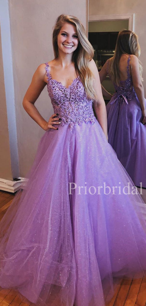 Charming V-neck A-line Lace Up Back Tulle Long Evening Prom Dresses.PB1097
