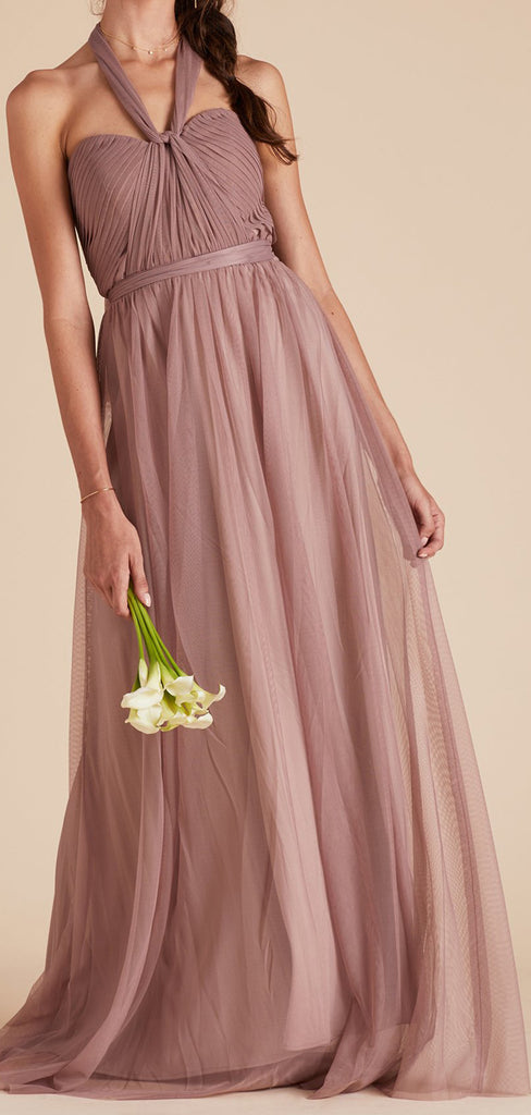 Charming Halter Floor Length Tulle Long Bridesmaid Dresses.PB1085