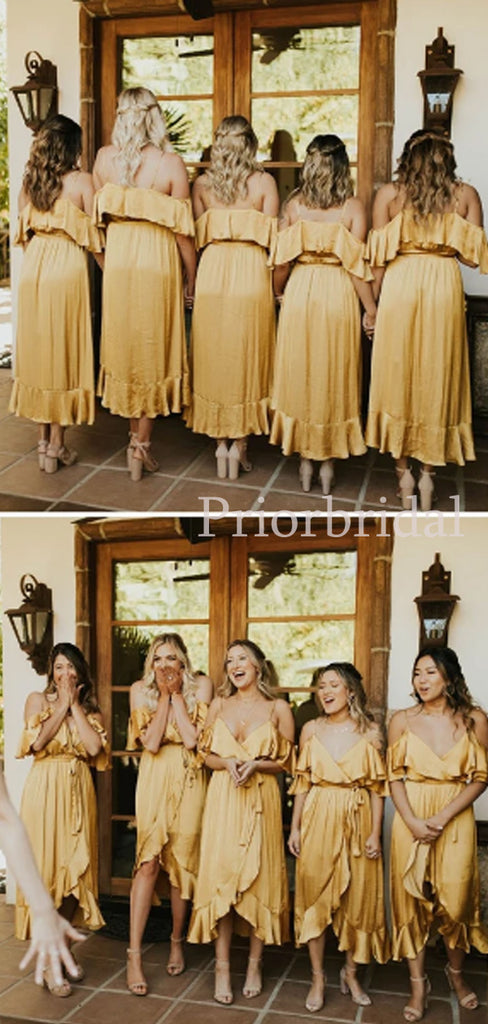 New Arrival V-neck High-low Long Bridesmaid Dresses.PB1087