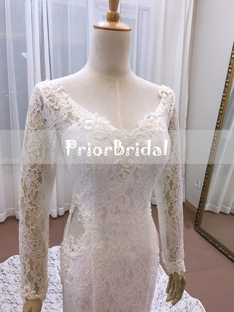 New Vintage Fully Lace Beaded With Long Sleeves  Mermaid Wedding Dresses. RG0200
