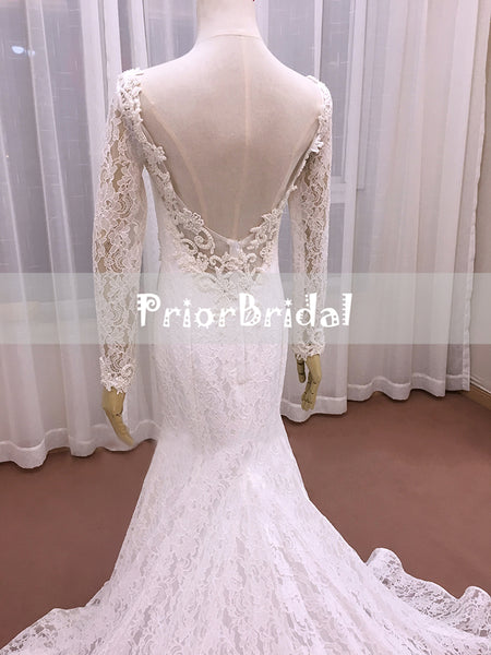 2018 New Vintage Fully Lace Beaded With Long Sleeves  Mermaid Wedding Dresses. RG0200